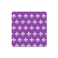 Royal1 White Marble & Purple Denim (r) Square Magnet
