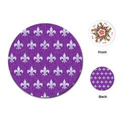 Royal1 White Marble & Purple Denim (r) Playing Cards (round)
