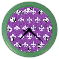 Royal1 White Marble & Purple Denim (r) Color Wall Clocks
