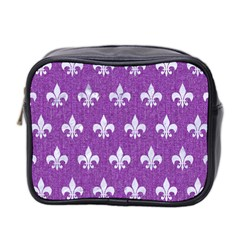 Royal1 White Marble & Purple Denim (r) Mini Toiletries Bag 2 Side by trendistuff