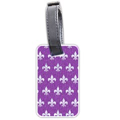 Royal1 White Marble & Purple Denim (r) Luggage Tags (two Sides) by trendistuff