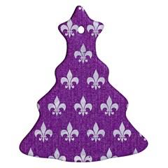 Royal1 White Marble & Purple Denim (r) Christmas Tree Ornament (two Sides)