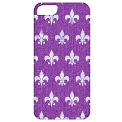 Royal1 White Marble & Purple Denim (r) Apple Iphone 5 Classic Hardshell Case