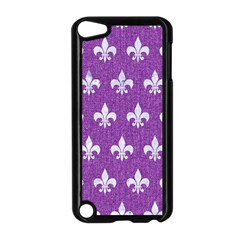 Royal1 White Marble & Purple Denim (r) Apple Ipod Touch 5 Case (black)