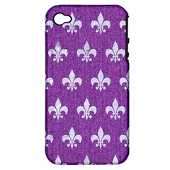 Royal1 White Marble & Purple Denim (r) Apple Iphone 4/4s Hardshell Case (pc+silicone)