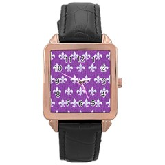 Royal1 White Marble & Purple Denim (r) Rose Gold Leather Watch