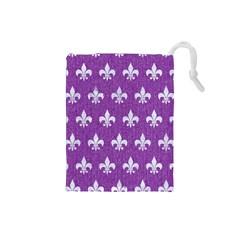Royal1 White Marble & Purple Denim (r) Drawstring Pouches (small)