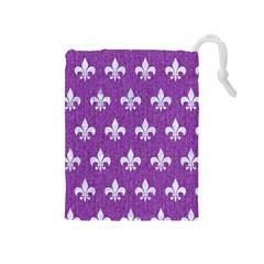 Royal1 White Marble & Purple Denim (r) Drawstring Pouches (medium)