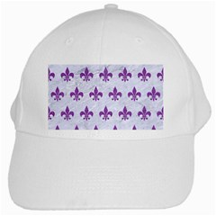 Royal1 White Marble & Purple Denim White Cap