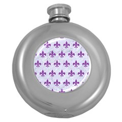 Royal1 White Marble & Purple Denim Round Hip Flask (5 Oz)