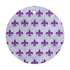 Royal1 White Marble & Purple Denim Round Ornament (two Sides)