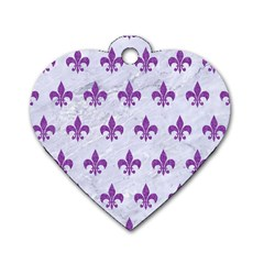 Royal1 White Marble & Purple Denim Dog Tag Heart (two Sides)