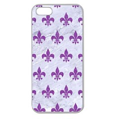 Royal1 White Marble & Purple Denim Apple Seamless Iphone 5 Case (clear)