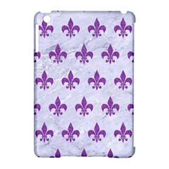 Royal1 White Marble & Purple Denim Apple Ipad Mini Hardshell Case (compatible With Smart Cover)