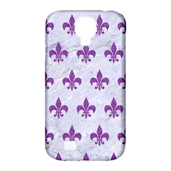 Royal1 White Marble & Purple Denim Samsung Galaxy S4 Classic Hardshell Case (pc+silicone)