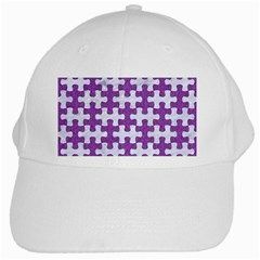 Puzzle1 White Marble & Purple Denim White Cap