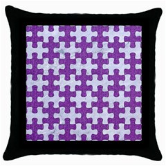 Puzzle1 White Marble & Purple Denim Throw Pillow Case (black)