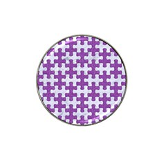 Puzzle1 White Marble & Purple Denim Hat Clip Ball Marker by trendistuff