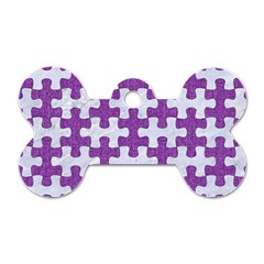 Puzzle1 White Marble & Purple Denim Dog Tag Bone (one Side)