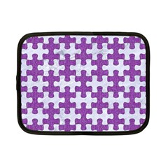 Puzzle1 White Marble & Purple Denim Netbook Case (small)