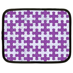 Puzzle1 White Marble & Purple Denim Netbook Case (xxl)