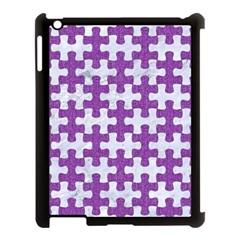 Puzzle1 White Marble & Purple Denim Apple Ipad 3/4 Case (black) by trendistuff