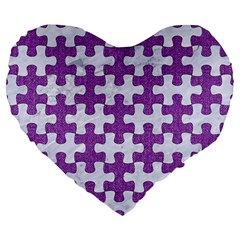 Puzzle1 White Marble & Purple Denim Large 19  Premium Heart Shape Cushions