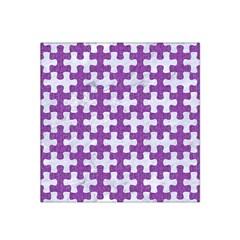 Puzzle1 White Marble & Purple Denim Satin Bandana Scarf