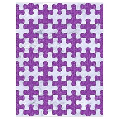 Puzzle1 White Marble & Purple Denim Drawstring Bag (large)