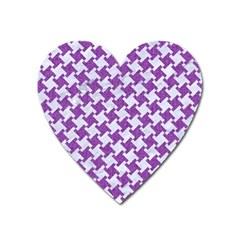 Houndstooth2 White Marble & Purple Denim Heart Magnet