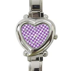 Houndstooth2 White Marble & Purple Denim Heart Italian Charm Watch