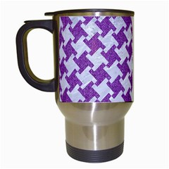 Houndstooth2 White Marble & Purple Denim Travel Mugs (white) by trendistuff
