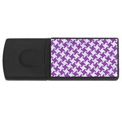Houndstooth2 White Marble & Purple Denim Rectangular Usb Flash Drive