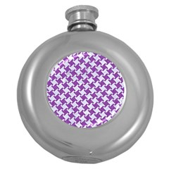 Houndstooth2 White Marble & Purple Denim Round Hip Flask (5 Oz)
