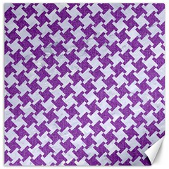 Houndstooth2 White Marble & Purple Denim Canvas 12  X 12
