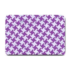Houndstooth2 White Marble & Purple Denim Small Doormat
