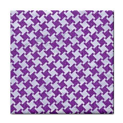 Houndstooth2 White Marble & Purple Denim Face Towel