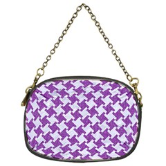 Houndstooth2 White Marble & Purple Denim Chain Purses (one Side)