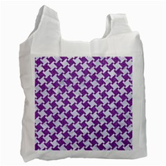 Houndstooth2 White Marble & Purple Denim Recycle Bag (two Side)