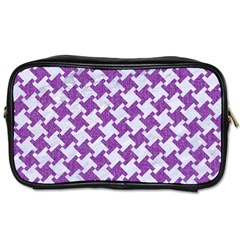 Houndstooth2 White Marble & Purple Denim Toiletries Bags