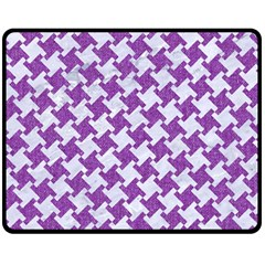 Houndstooth2 White Marble & Purple Denim Fleece Blanket (medium)  by trendistuff
