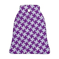 Houndstooth2 White Marble & Purple Denim Bell Ornament (two Sides)