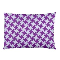 Houndstooth2 White Marble & Purple Denim Pillow Case (two Sides)