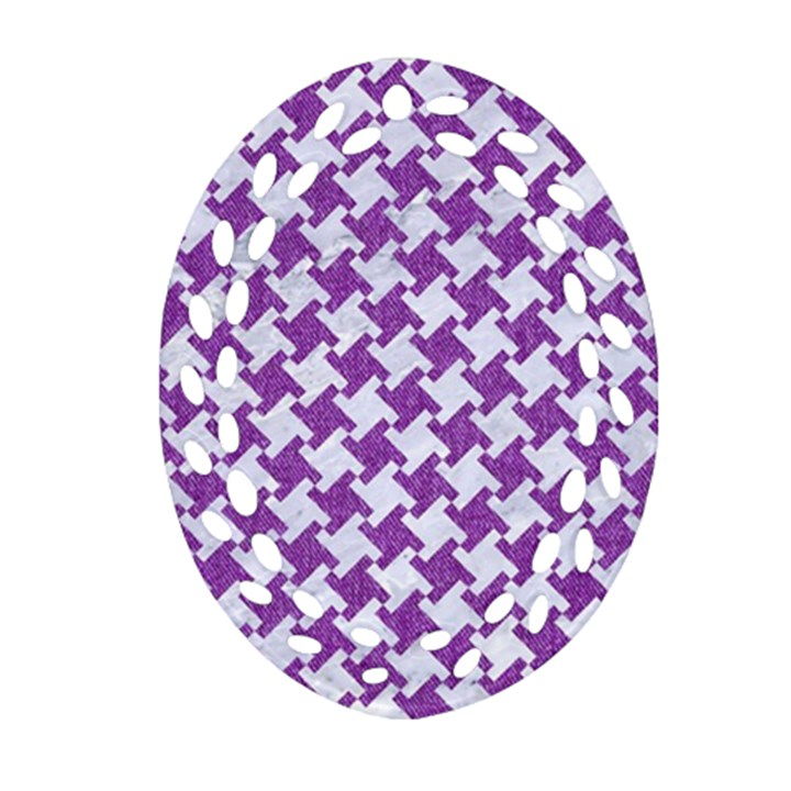 HOUNDSTOOTH2 WHITE MARBLE & PURPLE DENIM Oval Filigree Ornament (Two Sides)
