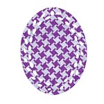 HOUNDSTOOTH2 WHITE MARBLE & PURPLE DENIM Oval Filigree Ornament (Two Sides) Back