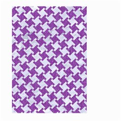 Houndstooth2 White Marble & Purple Denim Large Garden Flag (two Sides) by trendistuff