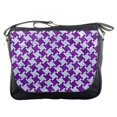 Houndstooth2 White Marble & Purple Denim Messenger Bags