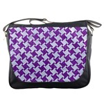 HOUNDSTOOTH2 WHITE MARBLE & PURPLE DENIM Messenger Bags Front
