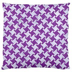 Houndstooth2 White Marble & Purple Denim Large Cushion Case (one Side)