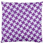 HOUNDSTOOTH2 WHITE MARBLE & PURPLE DENIM Large Cushion Case (One Side) Front